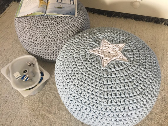 Miraculous Pale Blue Kids Floor Seating Round Crochet Pouf Ottoman With Star Knit Footstool Pouffe For Modern Nursery Decor Toddler Birthday Gift Caraccident5 Cool Chair Designs And Ideas Caraccident5Info