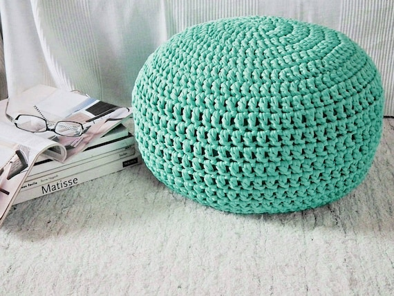 Mint Turquoise Knit Pouf Ottoman Tiffany Nursery Footstool Etsy Delectable Turquoise Knitted Pouf