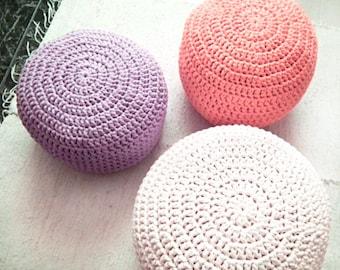 Coral Pink Crochet Pouf, Baby Girl Nursery Footstool, Round Knit Ottoman, Large Floor Pillow, Seating Pouffe, Nursery Decor, Floor Cushion