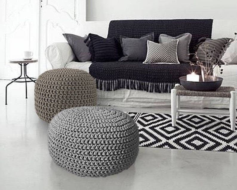 Nursery Footstool Ottoman Grey Large Hand Knit Pouf Round Coffee Table Seating Pouffe Crochet Floor Pillow