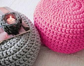 Hot Pink Knit Pouf, Footstool Ottoman, Round Floor Cushion, Vibrant Pink Floor Pillow, Kids Room Decor, Bean Bag Chair, Crochet Pouffe