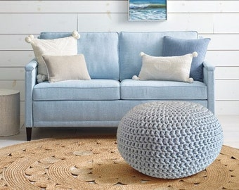 Light Blue Crochet Pouf Ottoman, Powder Blue Nursery Footstool, Round Floor Cushions, Knit Floor Pillow, Baby Boy Room Pouffe, Bean Bag Chai
