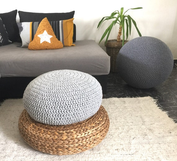 Maille ronde sol Coussin assise Pouf pouf Ottoman   Etsy 4424258fb4a