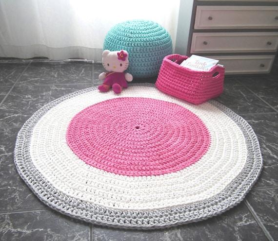 Crochet Pink Nursery Rug Girls Room Round Rug Baby Cotton