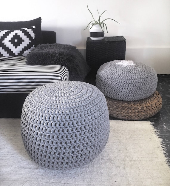Outstanding Grey Knit Pouf Large Round Ottoman Nursery Glider Footstool Boho Coffee Table Crochet Floor Pillow Seating Pouffe Machost Co Dining Chair Design Ideas Machostcouk
