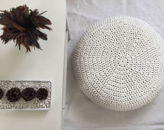 Large Crochet Floor Cushion, Round Pillow Seating, Meditation Cushions, XXL Stuffed Pouffe, Knitted Pillows, Kids Floor Pouf, Nursery Decor