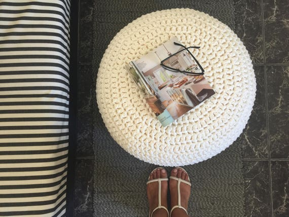 Brilliant Large Round Pouf Ottoman Footstool Coffee Table Stuffed Chunky Knit Pouffe Nursery Crochet Pouf Gift For New Mom Caraccident5 Cool Chair Designs And Ideas Caraccident5Info