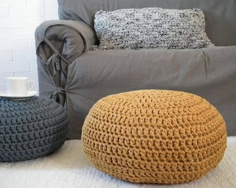 Mustard Gold Pouf Ottoman, Chunky Knit Pouf, Gold Nursery Decor, Floor Cushion, Crochet Footstool, Floor Seating Pillow, Bean Bag Chair