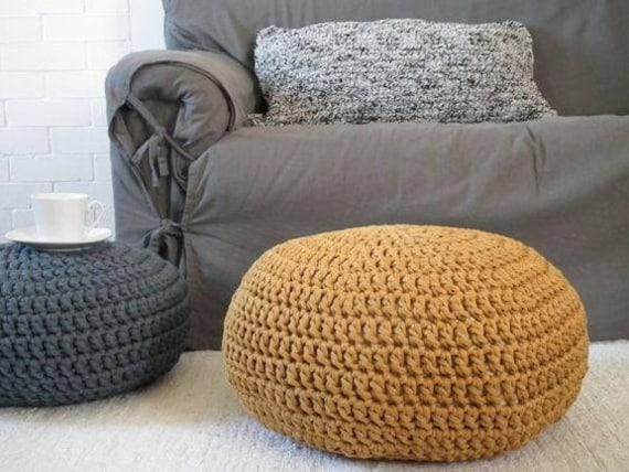 Mustard Crochet Pouf Ottoman Chunky Knit Pouffe Gold Nursery Etsy Enchanting Gold Pouf Nursery
