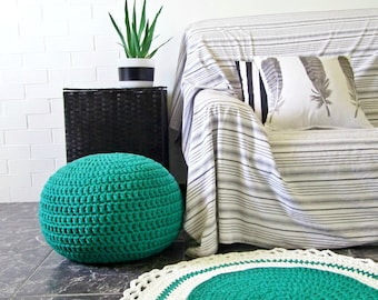 Teal Green Round Crochet Pouf, Ottoman Footstool, Cotton Floor Seating Cushion, Knitted Pouffe, Men Gifts