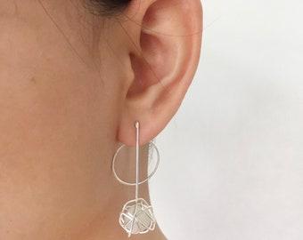 aa20208eb ELEKTRA Ear Jackets / Silver Modern Earrings / Wire Wrapped Gemstone / Rose  Gold Filled , Sterling Silver / Statement Earrings