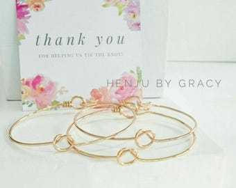 Buy5get1free Thick Love Knot Closed Bangle / Gold Tie the Knot Bracelet and Cards / Silver Rose Copper / Bridesmaids gifts / Wedding Favor
