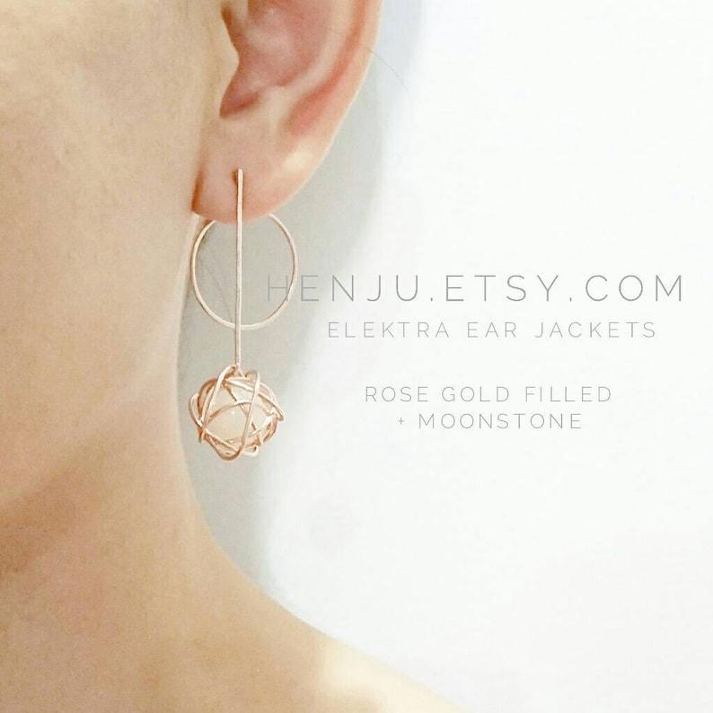 8671ef28c ELEKTRA Ear Jackets / Gold Modern Earrings / Wire Wrapped | Etsy