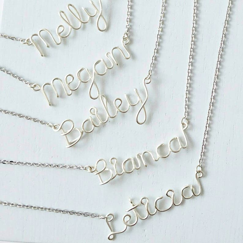 2c619984a49ce Bridesmaids Necklace, Silver Bridesmaids Necklaces, Name Necklace,  Bridesmaids Gifts, Wedding Jewelry, Personalised Bridesmaids Gifts