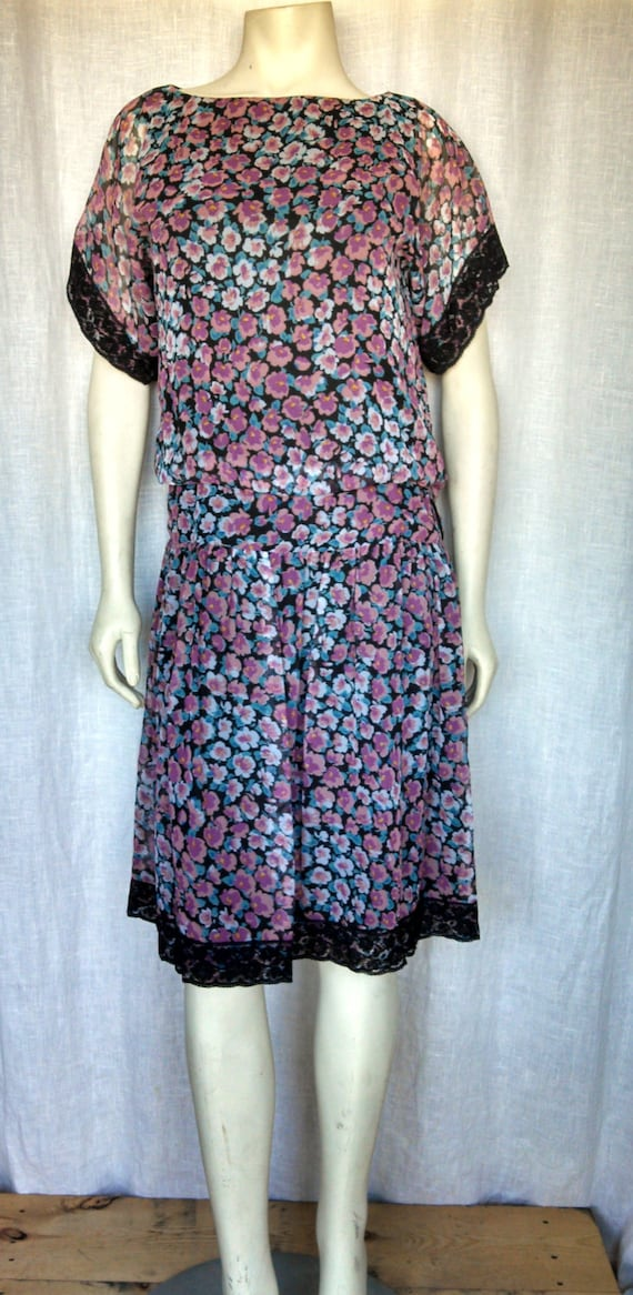 70s Victor Costa Bohemian Silk Dress