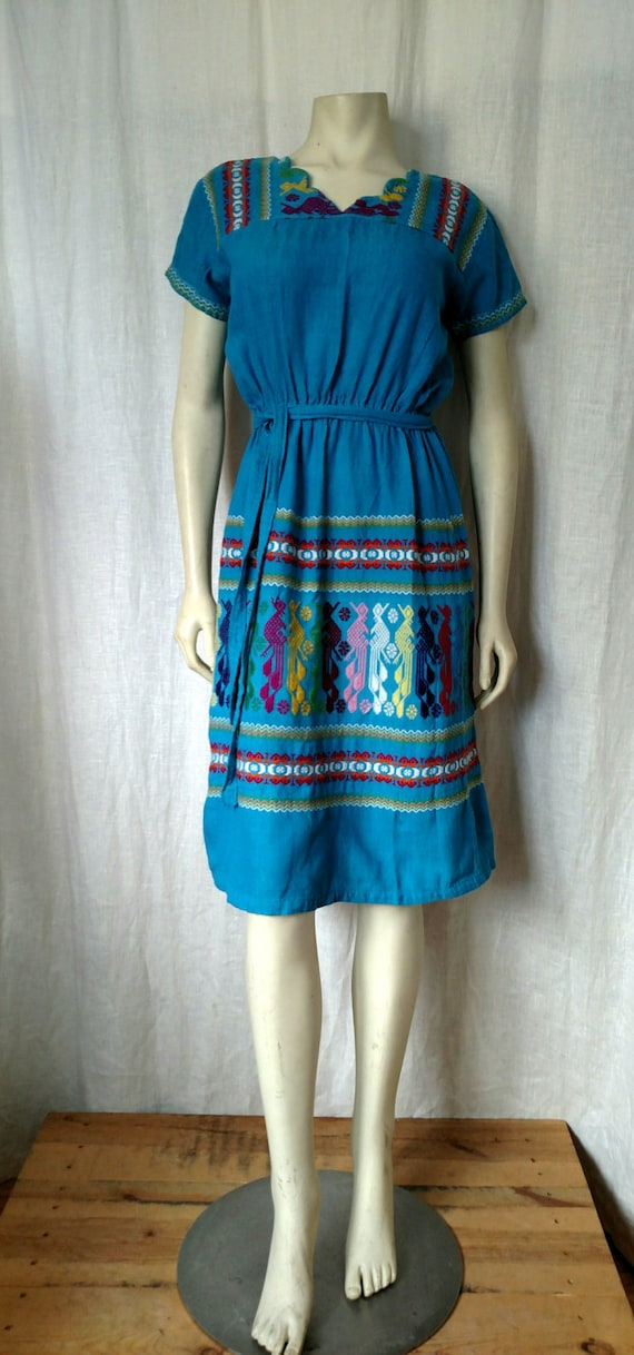 70s Tribal Embroidered Dress - image 5