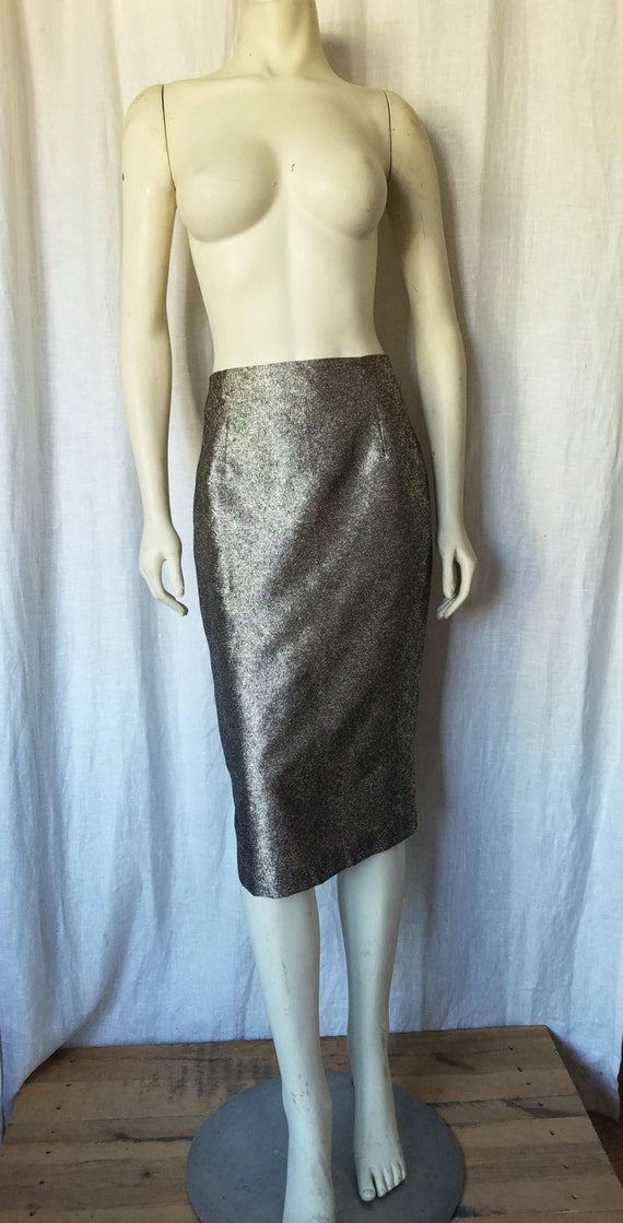 Gold Metallic Pencil Skirt