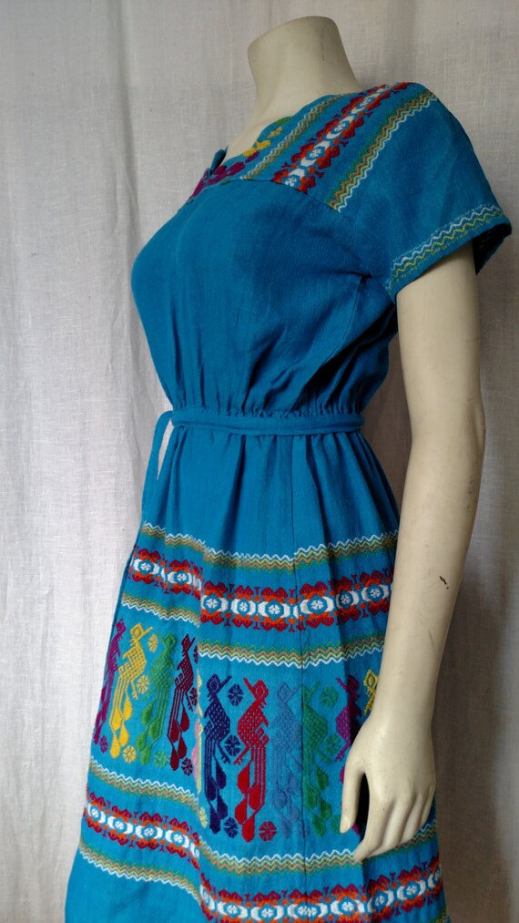 70s Tribal Embroidered Dress - image 1