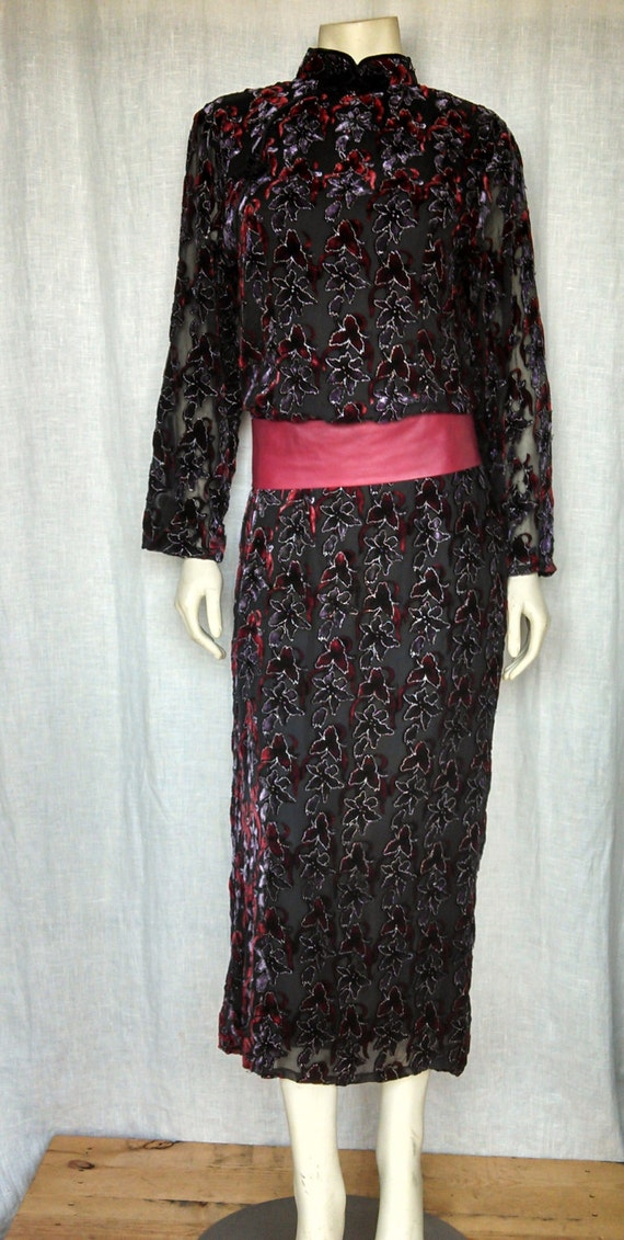 80s Chinoiserie Burnout Velvet Dress