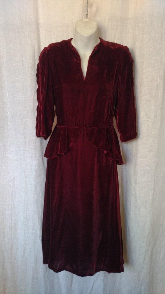 Vintage 40's Bordeaux Velvet Peplum Dress