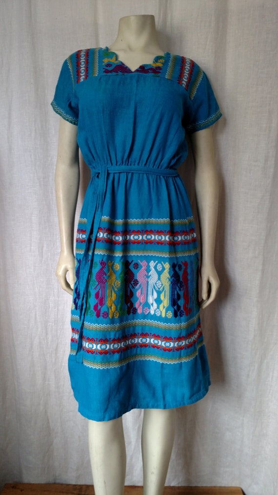70s Tribal Embroidered Dress - image 3