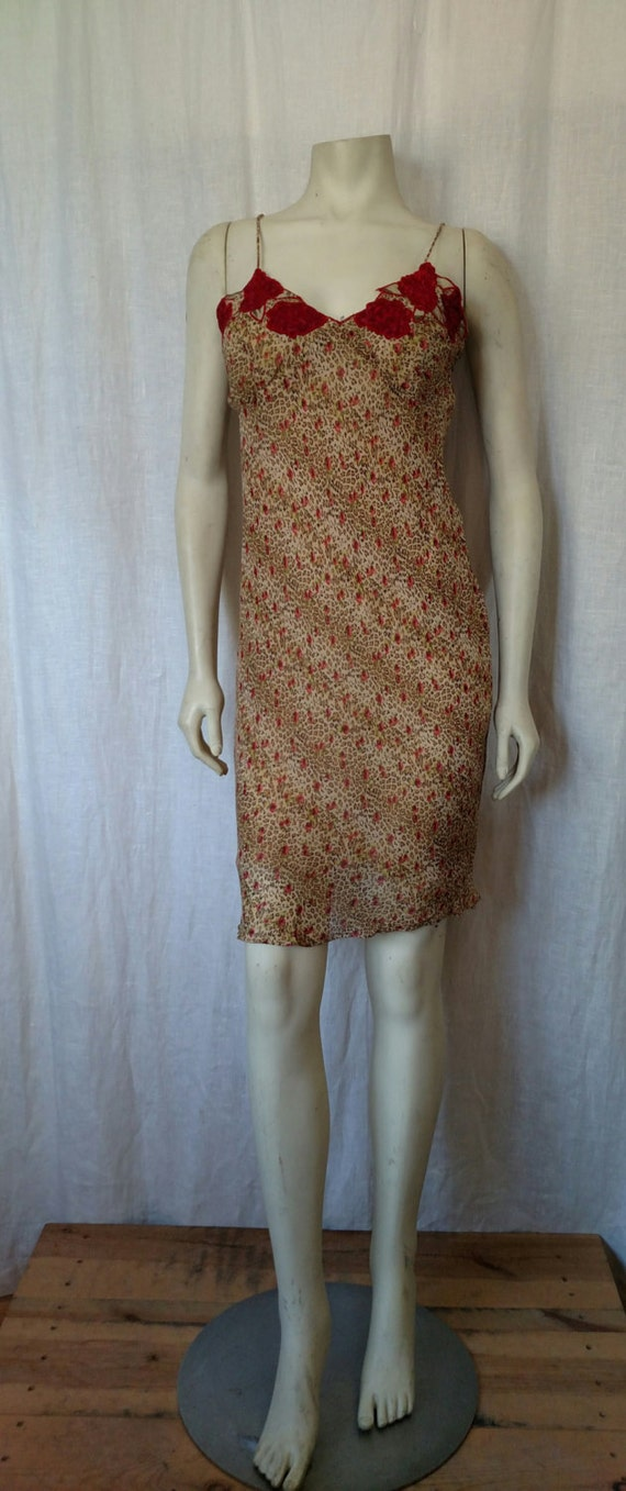 90s Rose 'n Cheetah Slip Dress - image 2