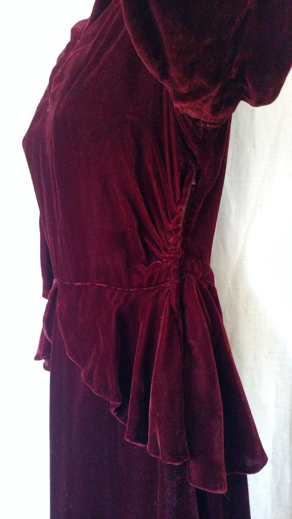 Vintage 1940's Bordeaux Velvet Peplum Dress