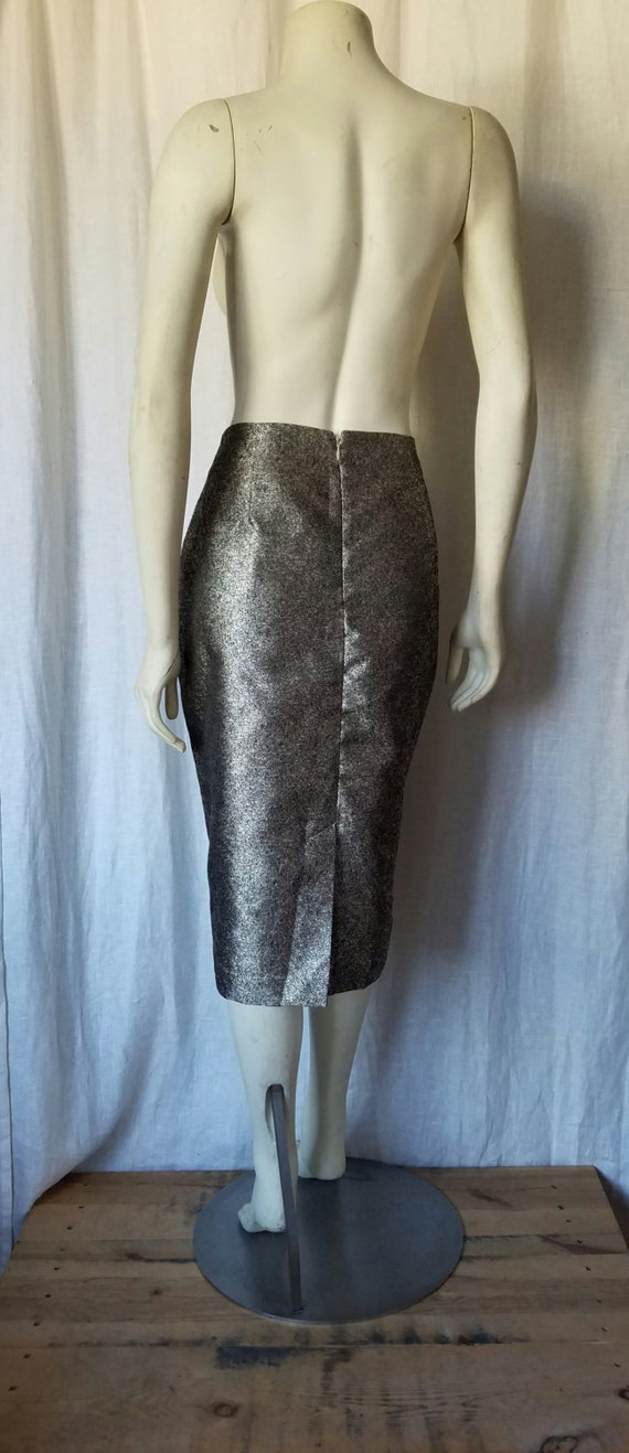 Gold Metallic Pencil Skirt - image 3