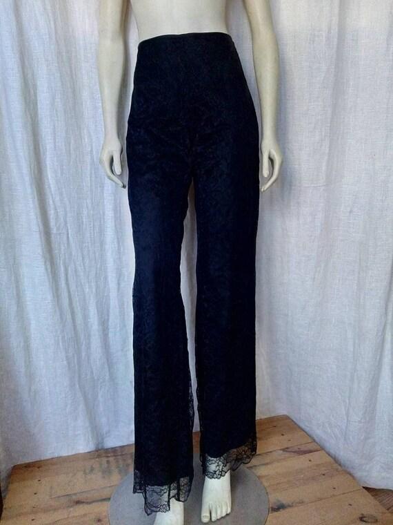 Glam Rock Black Lace Pants