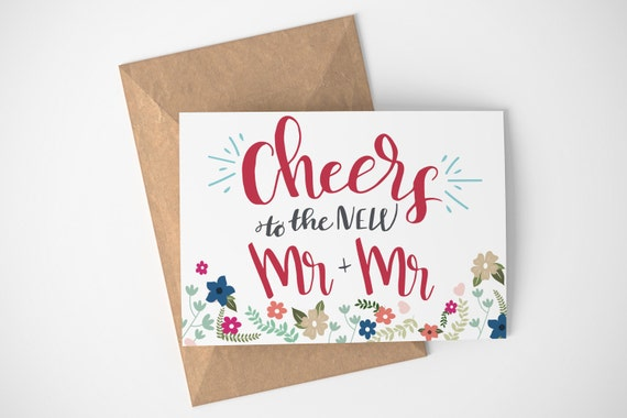 Just Married Card Newly Married Gift Lgbt Wedding Card Etsy