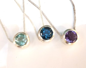 Silver slider necklace, silver birthstone necklace