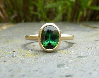 Green tourmaline recycled gold ring, green gemstone engagement ring