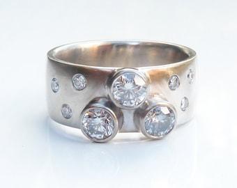 White gold diamond ring, scattered diamond ring