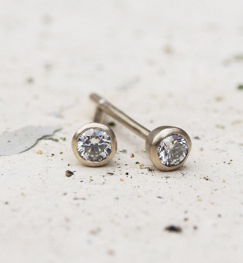 f48a67150 Tiny white gold diamond earrings white gold diamond studs | Etsy