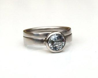 Aquamarine platinum engagement ring set