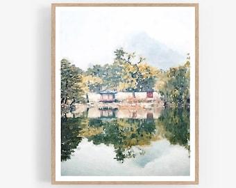 Seoul South Korea Watercolor Print Digital Download, Neutral Landscape Wall Art Poster Asian Home Decor 5x7, 8x10, 11x14, 16x20, 18x24