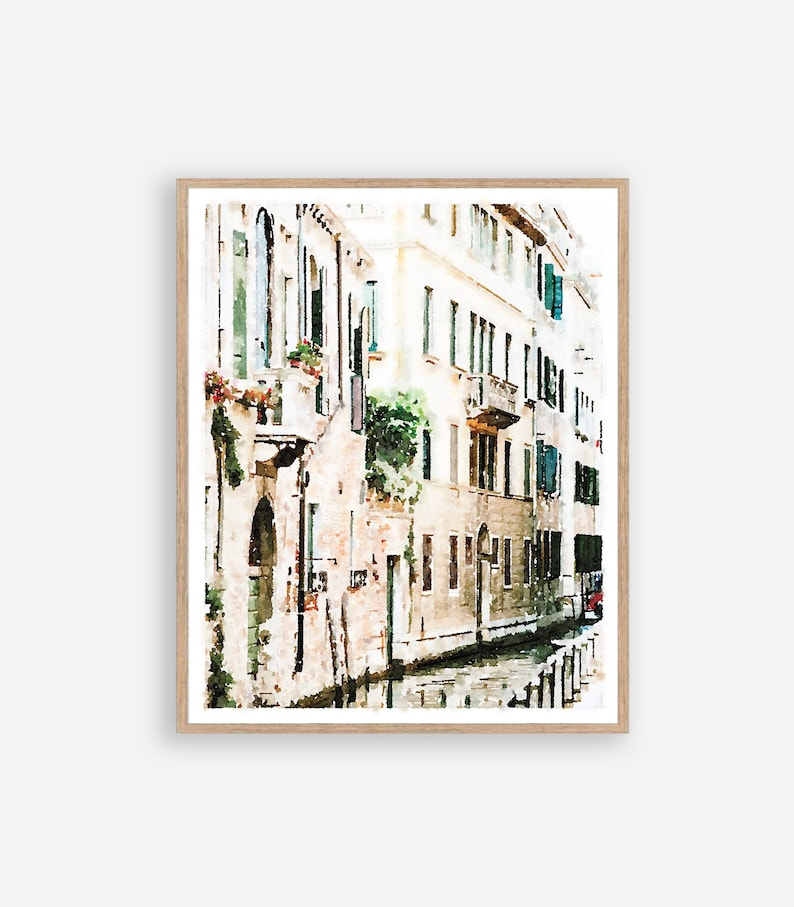11x14 8x10 Venice Italy Canal Watercolor Wall Art Digital Download Photography Painting 5x7 16x20 18x24 Neutral Building Street Print