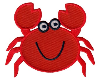 Crab Colorful Embroidered Iron On Applique Patch Chef Seafood Beach