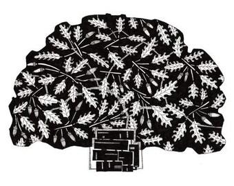 OAK TREE, zwart en wit,