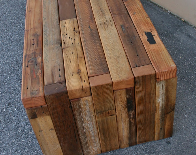 Reclaimed Wood Bench / Coffee Table | choose your size | TimeWorn Box Joint Design