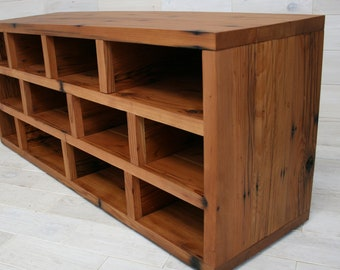 Reclaimed Redwood Shoe Storage Bench | Passage Design