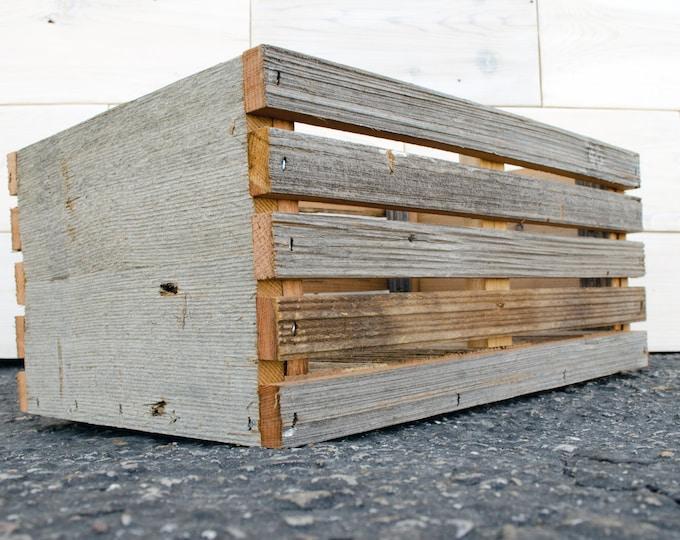 "Barn Wood Slat Crate 12"" x 8"" x 6"" | rope handles"