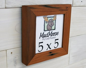 """5x5 Reclaimed Redwood Picture Frame - Classic 1.25"""""""