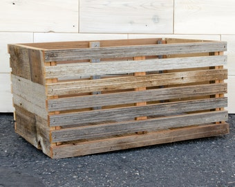 "Barn Wood Slat Crate 16"" x 12"" x 9"""
