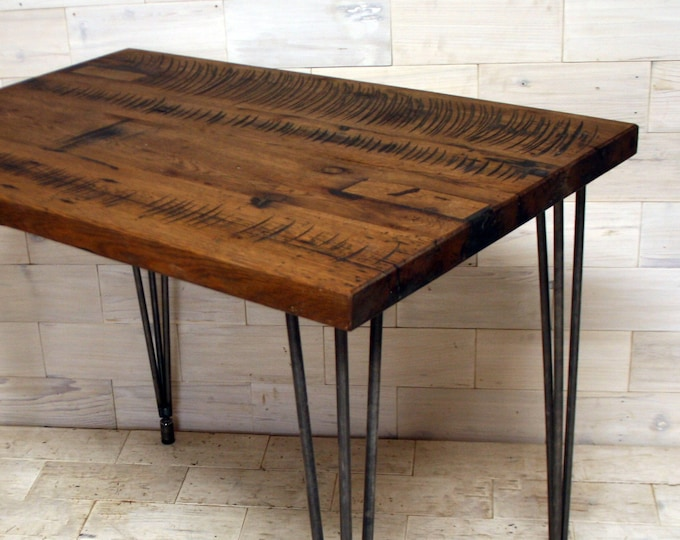 Antique Tobacco Oak Table with Steel Hairpin Legs