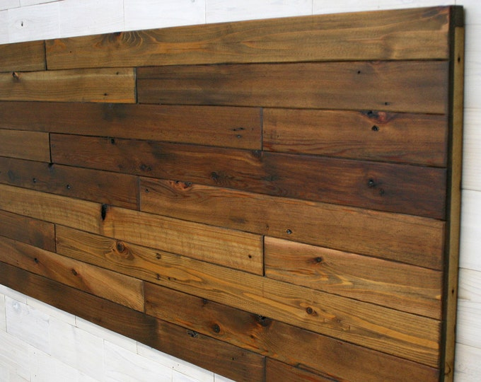 Reclaimed Wood Hanging Headboard Panel | all bed sizes | Remilled Staggered Design