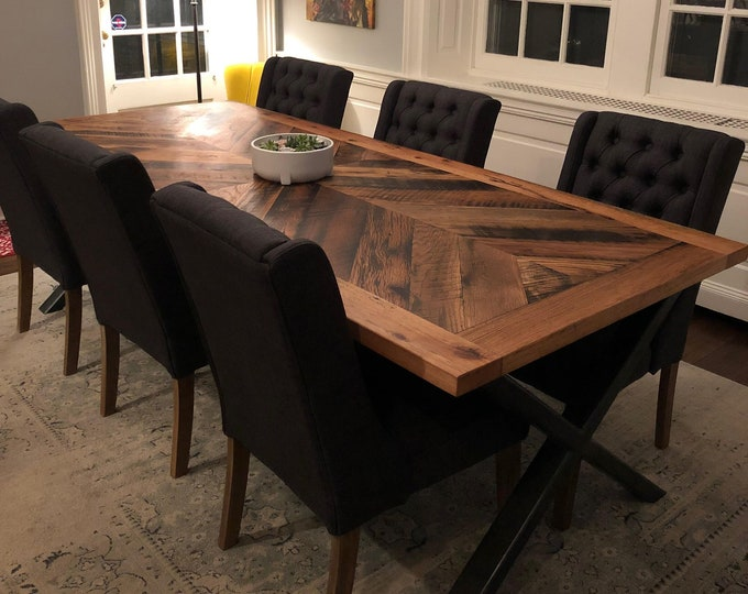 Reclaimed Oak Dining Table with Steel X Legs | Chevron Design