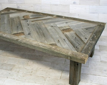 Barn Wood Coffee Table | multiple size options | Herringbone Design |