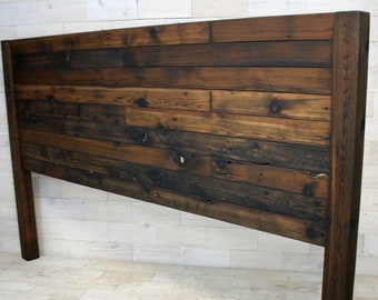 Reclaimed Wood Headboard with Posts | all bed sizes | Staggered Remilled Design