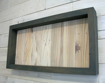 "Reclaimed Cedar Shadow Box 24"" x 12"" x 2"" with clear acrylic front"